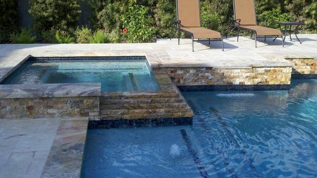 Raised Travertine Square Spa Traditional Pool Other