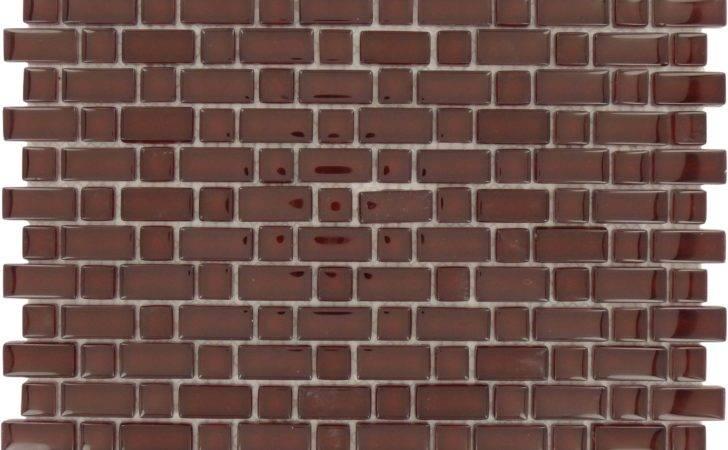 Random Bricks Red Brick Glossy Glass Tile