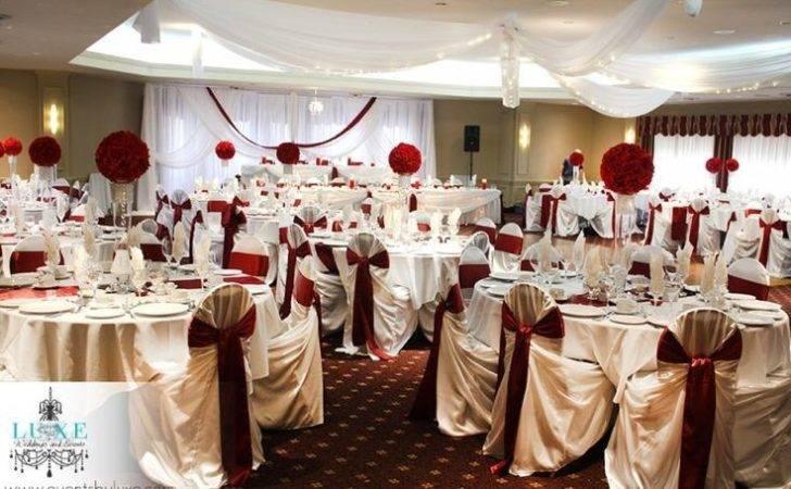 Reception Decorations Deep Burgundy Rich Gold Wedding
