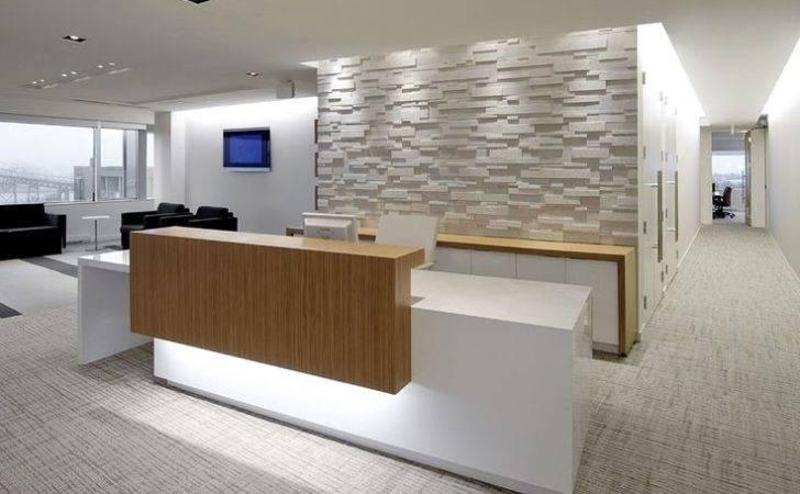 Reception Desk Dark Wood Logo Raised Portion Office