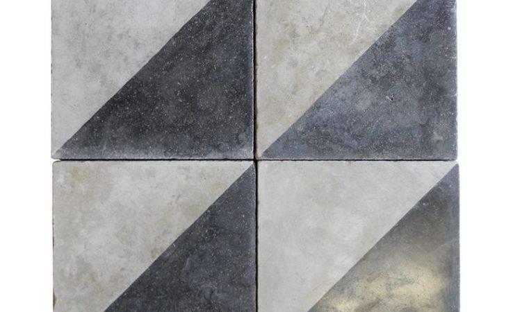 Reclaimed Black White Colored Cement Tile Stdibs