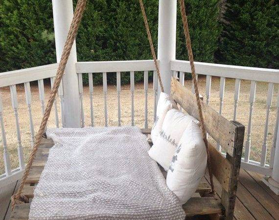 Reclaimed Pallet Swing Bed Porch Brittandtyler Etsy
