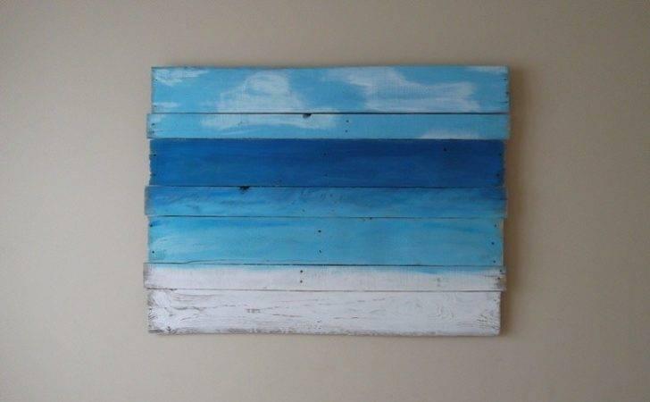 Reclaimed Pallet Wood Beach Painting Via Etsy