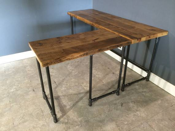 Reclaimed Urban Wood Computer Shaped Desk Industrial Piping