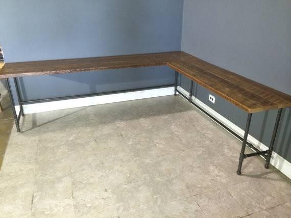 Reclaimed Urban Wood Shaped Desk Made Farm
