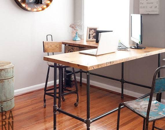 Reclaimed Wood Desk Shape Iron Pipe Legs Choice