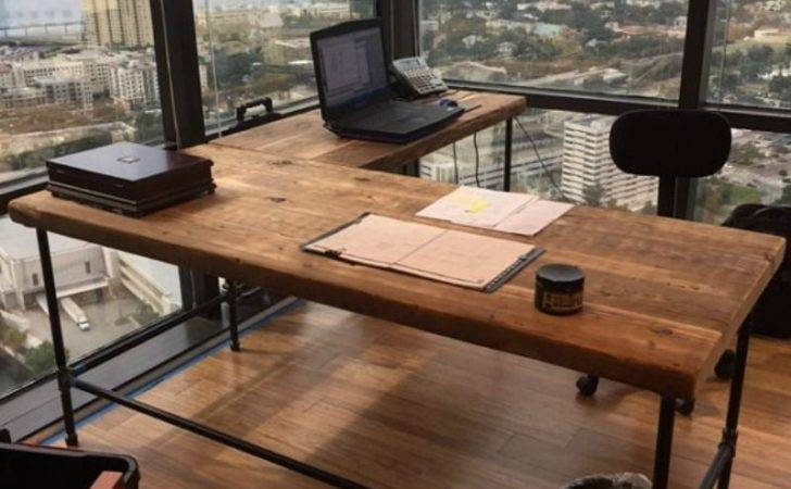 Reclaimed Wood Shaped Desk Luxury Offices Beautifully