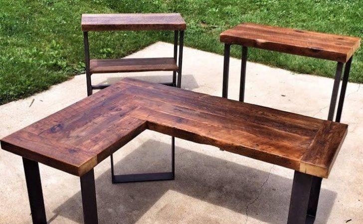 Reclaimed Wood Shaped Desk Montgomery County Rockville