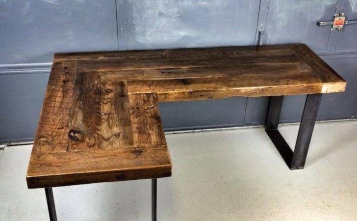 Reclaimed Wood Shaped Desk More Shape Desks Diy Industrial