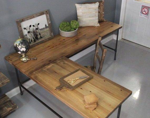 Reclaimed Wood Shaped Desk Pipe