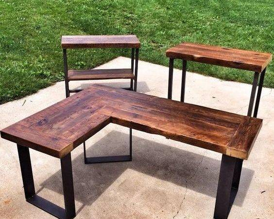 Reclaimed Wood Shaped Desk Rockville Usa Only Knew