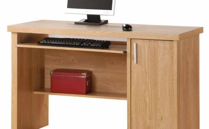 Rectangle Natural Brown Wooden Computer Desk Shelves