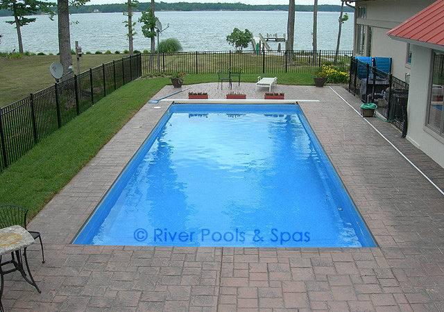 Rectangle Pool Trampoline Into Pond Like