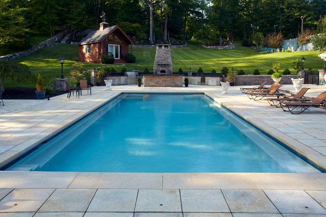 Rectangle Pools Traditional Swimming Pool Hot Tub New York