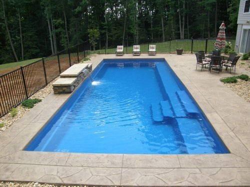 Rectangular Pool Designs Having Fiberglass Swimming Pools