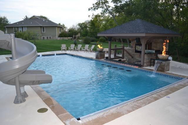 Rectangular Pool Sunken Kitchen Area Contemporary Kansas