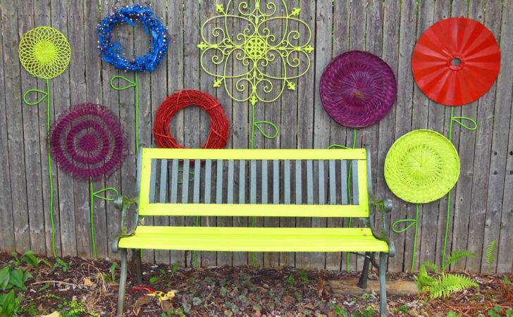 Recycled Garden Flower Wall Folk Art Park Bench