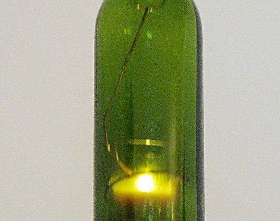 Recycled Wine Bottle Hanging Candle Lantern