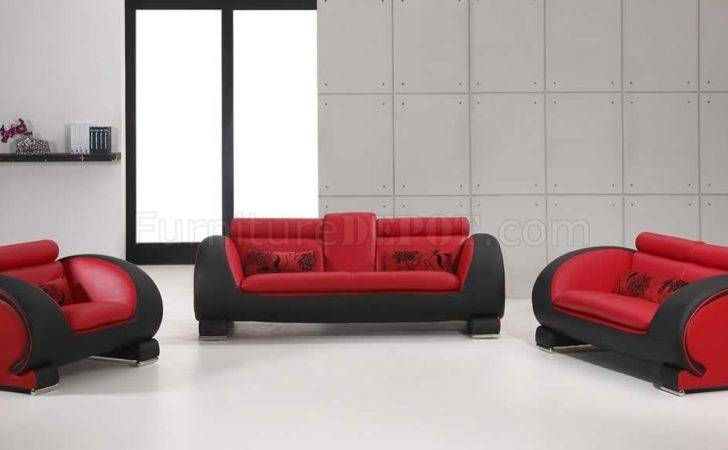 Red Black Two Tone Bonded Leather Modern Sofa Set Vgs