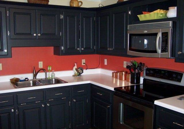 Red Black Walls Kitchen Cabinets