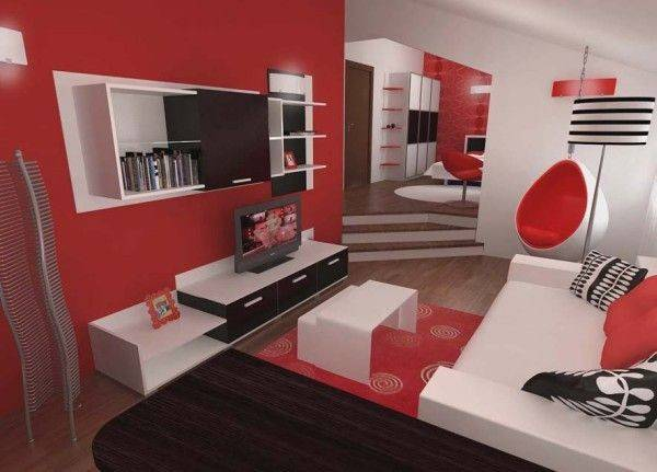 Red Black White Bedroom
