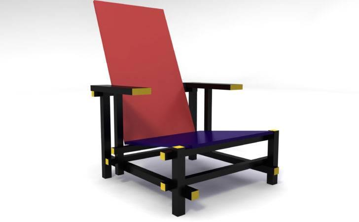 Red Blue Arm Chair Inspired Gerrit Rietveld Schroder Florian