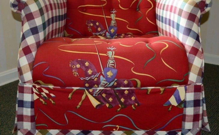 Red Blue White Gingham Padded Armchair Ebth