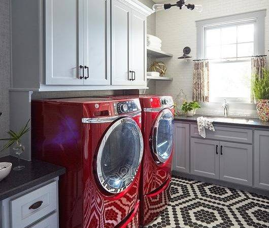 Red Brick Hex Floors Transitional Laundry Room