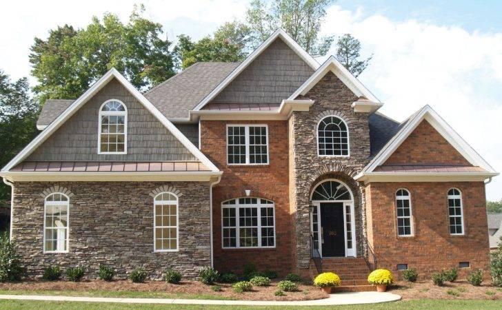 Red Brick Homes Mixed Media Using Stone Home Facades