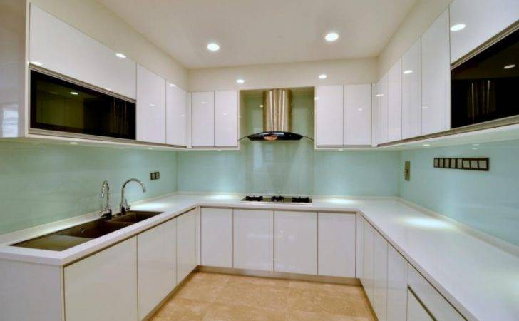 Red Cabinet Doors Modern White Spacious Kitchen Wood