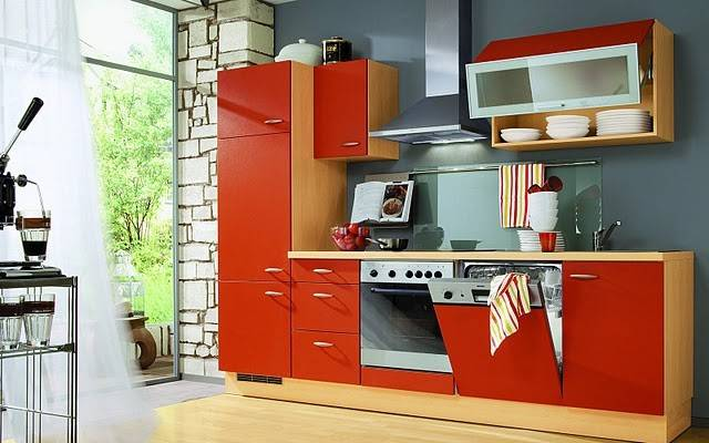 Red Color Scheme Small Kitchen Ideas Moreover Modern