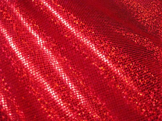 Red Hologram Foil Dot Spandex Fabric Joytheseamstress