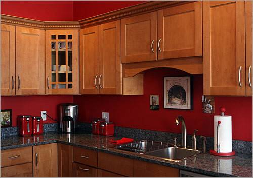 Red Kitchen Color Natural Cabinets Terrys Fabrics