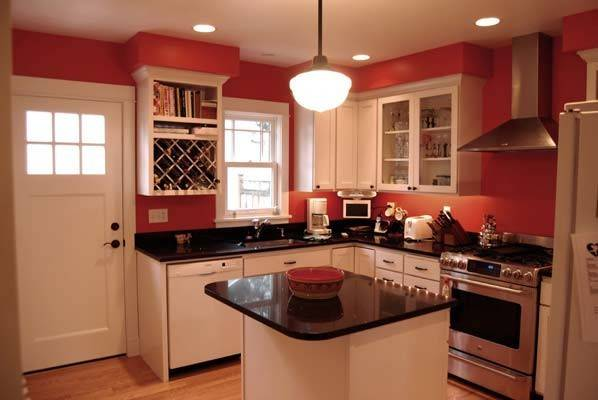 Red Kitchen Walls White Cabinets Phinney Traditional