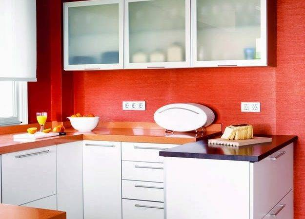 Red Kitchen Walls White Cabinets Wall