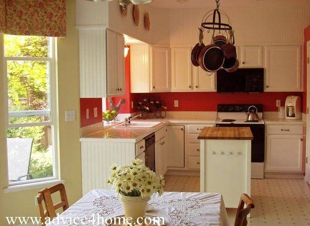 Red Kitchen White Cabinets Wall