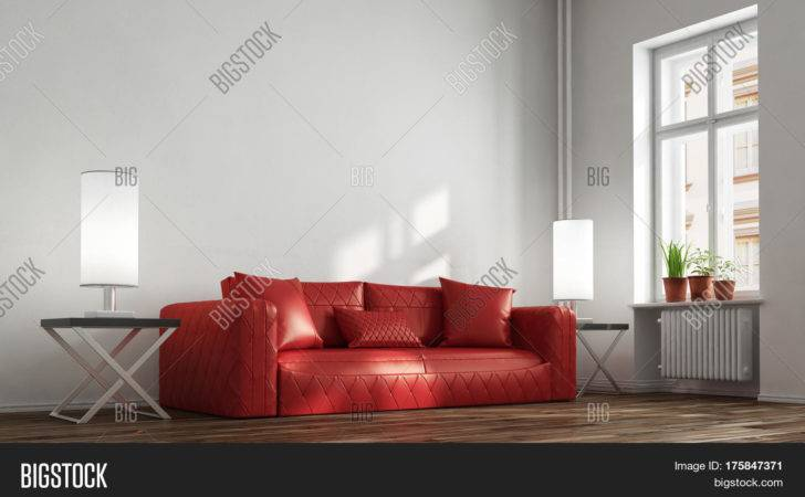 Red Leather Sofa Living Room Front Wall