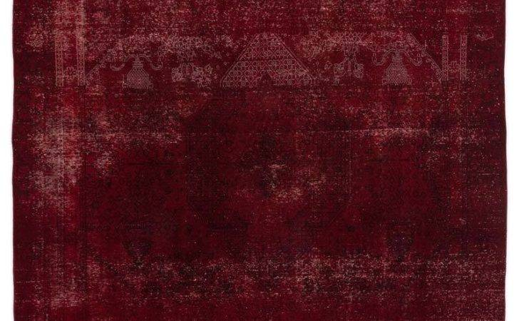 Red Over Dyed Persian Vintage Rug Kilim Rugs Overdyed