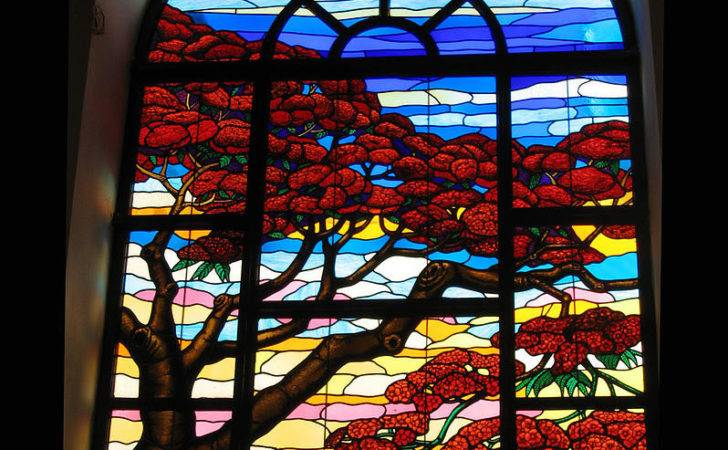 Red Stained Glass Window Art