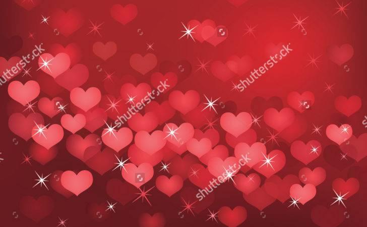 Red Valentine Day Hearts Sparkles