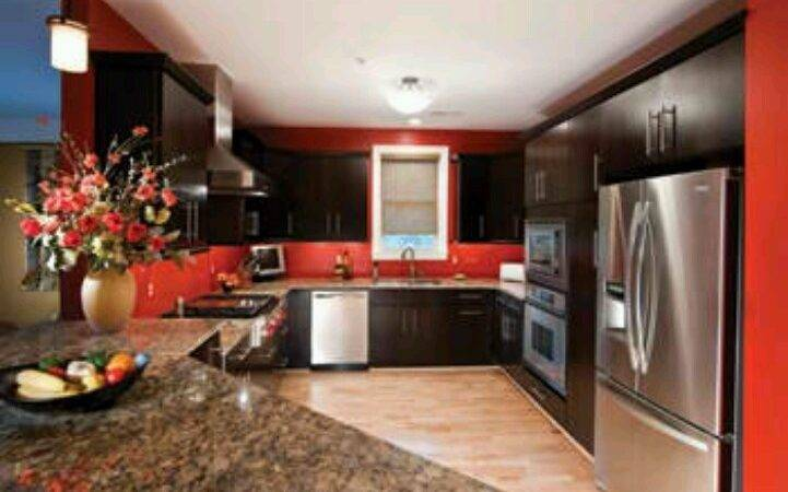 Red Wall Kitchen Home Upgrades Pinterest One Color Lighter