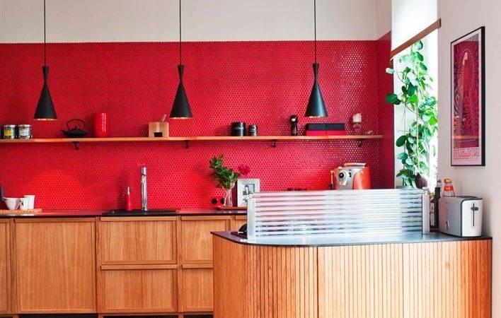 Red Wall Kitchen Kitchens Pinterest