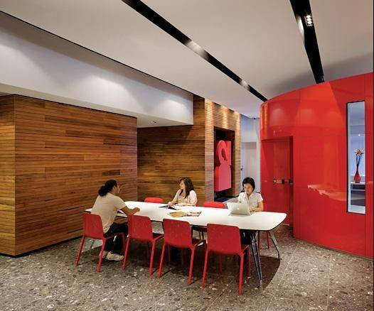 Red Wall Office Design Workplaces
