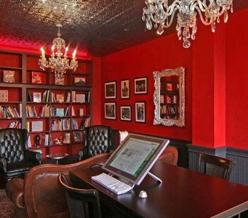 Red Wall Unit Office Design Photos