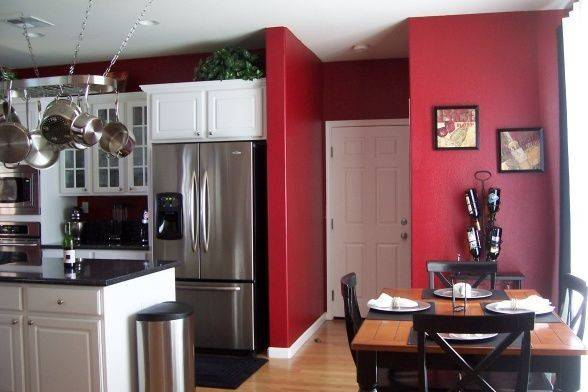 Red Walls White Cabinets Sit Eat Pinterest