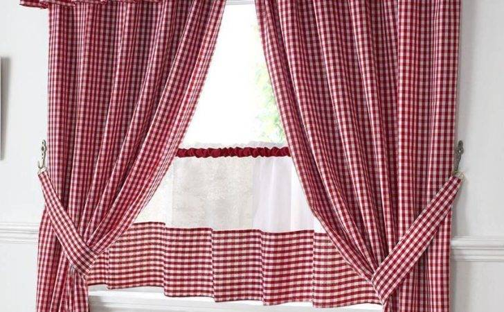 Red White Gingham Kitchen Curtains Pelmet Cafe
