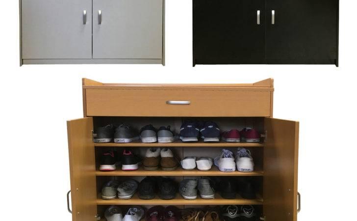 Redstone Shoe Storage Cabinet Rack Black White Beech Shelves Wooden
