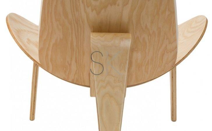 Replica Hans Wegner Shell Chair White Leather Natural