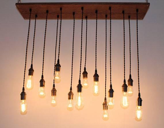 Repurposed Oak Industrial Hanging Light Edison Urbanchandy