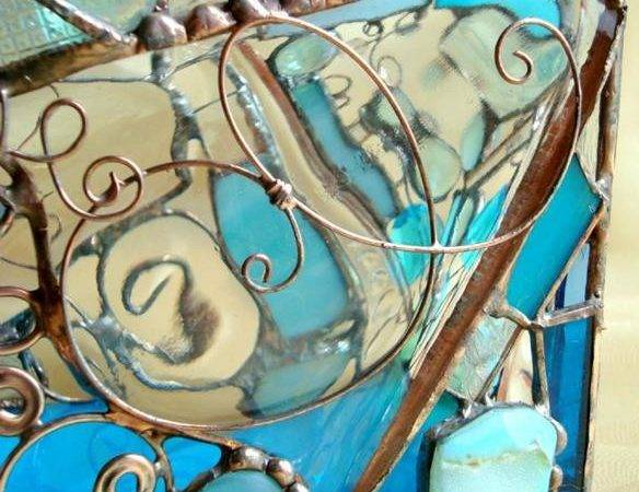 Rescued Pressed Glass Votive Whimsical Style Blue